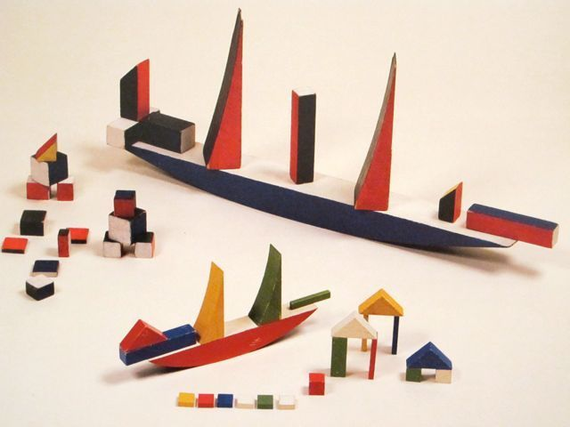 Dream ship made of blocks-Children's toys of an artist